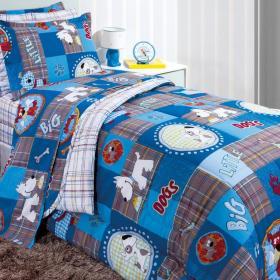 Kit: 1 Cobre-leito Solteiro Kids + 1 Porta-travesseiro 150 fios - Puppy - Kacyumara