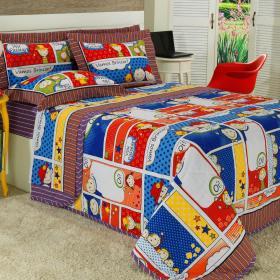 Kit: 1 Cobre-leito Solteiro Kids + 1 Porta-travesseiro 150 fios - Quadrinhos Multicor - Dui Design