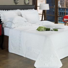 Kit: 1 Cobre-leito King + 2 porta-travesseiros Cetim de Algod�o 300 fios com Bordado Ingl�s - Ravenna Branco - Dui Design