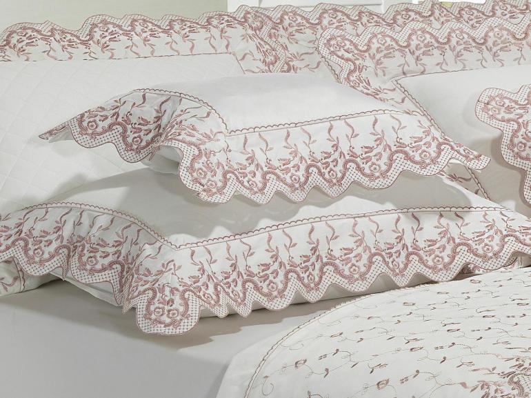 Jogo de Cama King Cetim de Algodão 300 fios com Bordado Inglês - Ravenna Branco e Rosa Velho - Dui Design