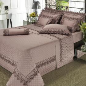 Kit: 1 Cobre-leito King + 2 porta-travesseiros Cetim de Algod�o 300 fios com Bordado Ingl�s - Ravenna Mauve - Dui Design