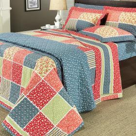 Kit: 1 Cobre-leito Queen + 2 Portas-travesseiro 150 fios - Rayane Multicor - Dui Design