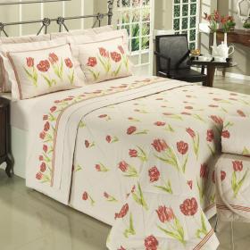 Kit: 1 Cobre-leito Solteiro + 1 Porta-travesseiro 150 fios - Renata Vermelho - Dui Design