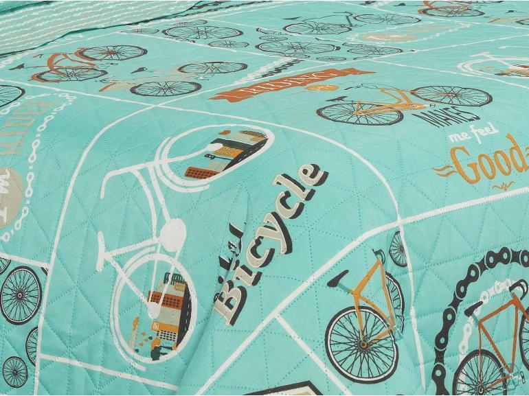 Kit: 1 Cobre-leito Solteiro Bouti de Microfibra Ultrasonic Estampada + 1 Porta-travesseiro - Rider Turquesa - Dui Design