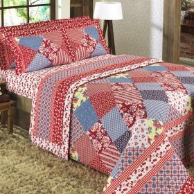 Kit: 1 Cobre-leito Queen + 2 Portas-travesseiro 150 fios - Rita Vermelho - Dui Design