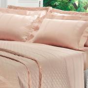 Jogo de Cama Solteiro Cetim 300 fios - Riviera Rosa - Dui Design