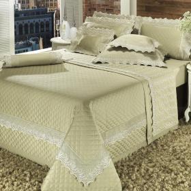 Edredom King Cetim de Algod�o 1.000 fios com Bordado Ingl�s - Rochelle Khaky - Dui Design