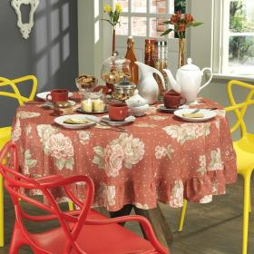 Toalha de Mesa Redonda 160cm - Romance Gren� - Dui Design