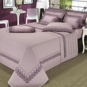 Enxoval Queen com Cobre-leito 7 pe�as Percal 200 fios com Bordado Ingl�s - Rose Mauve - Dui Design