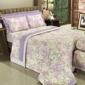 Kit: 1 Cobre-leito Queen + 2 Portas-travesseiro 150 fios - Rubie Lil�s - Dui Design