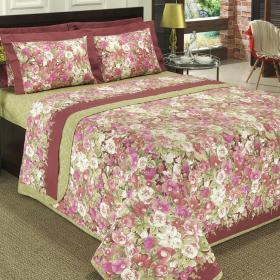 Kit: 1 Cobre-leito Queen + 2 Portas-travesseiro 150 fios - Rubie Vermelho Rosado - Dui Design