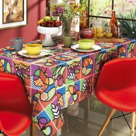 Toalha de Mesa Quadrada 4 lugares 140x140cm - Sabores Multicolor - Dui Design
