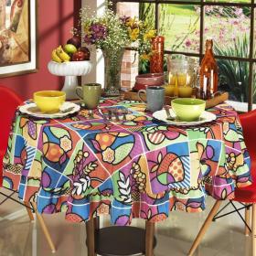 Toalha de Mesa Redonda 160cm - Sabores Multicolor - Dui Design