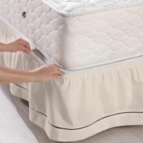 Saia para cama Box Veste F�cil Solteiro - Ponto Palito Areia - Santista
