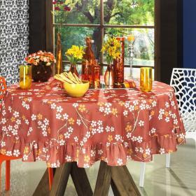 Toalha de Mesa Redonda 160cm - Sakura Vermelho - Dui Design