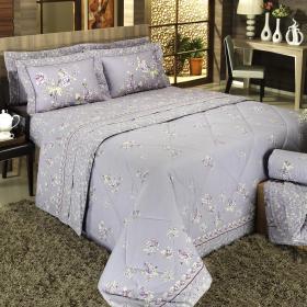 Kit: 1 Cobre-leito Casal + 2 Porta-travesseiros Percal 200 fios - Samantha Uva - Dui Design