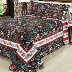 Kit: 1 Cobre-leito Queen Bouti de Microfibra PatchWork + 2 Porta-travesseiros - Samoa Preto - Dui Design