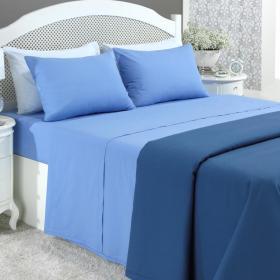 Jogo de Cama Queen 150 fios - Azul (6547) - Santista