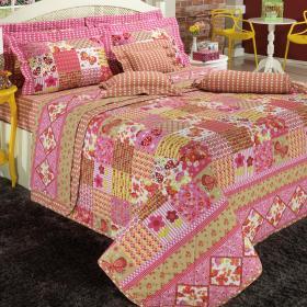 Kit: 1 Cobre-leito Solteiro + 1 Porta-travesseiro 150 fios - Sara Vermelho - Dui Design