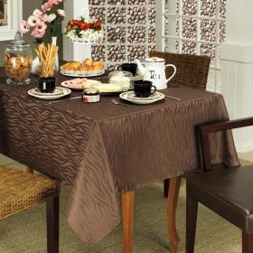 Toalha de Mesa F�cil de Limpar Quadrada 4 Lugares 160x160cm - Savana Chocolate - Dui Design