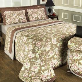 Enxoval Queen com Cobre-leito 7 pe�as Percal 200 fios - Serena Nude - Dui Design