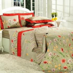 Kit: 1 Cobre-leito Casal + 2 Porta-travesseiros Percal 200 fios - Sheila Bege - Dui Design
