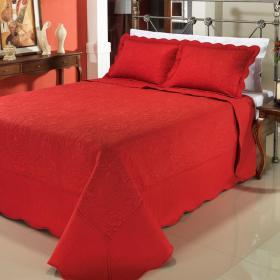 Kit: 1 Cobre-leito Casal Bouti Bordada de Microfibra + 2 Porta-travesseiros - Shiva Vermelho - Dui Design