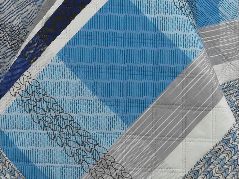 Kit: 1 Cobre-leito Queen Bouti de Microfibra Ultrasonic Estampada + 2 Porta-travesseiros - Sintra Azul - Dui Design