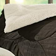 Kit: 1 Edredom Queen + 2 Porta-travesseiros Plush Microfibra e Efeito Pele de Carneiro - Snow - Karsten