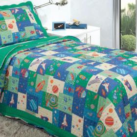 Kit: 1 Cobre-leito Bouti Solteiro Kids + 1 Porta-travesseiro Microfibra - Space - Kacyumara
