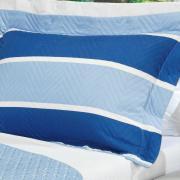 Kit: 1 Cobre-leito Casal Bouti de Microfibra Ultrasonic Estampada + 2 Porta-travesseiros - Spike Azul - Dui Design