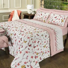 Edredom Casal 150 fios - Spring Rosa - Dui Design