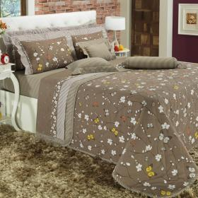 Kit: 1 Cobre-leito Casal + 2 Portas-travesseiro 150 fios - Spring Taupe - Dui Design