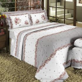Kit: 1 Cobre-leito Solteiro + 1 Porta-travesseiro Percal 200 fios - Suzane Noz Moscada - Dui Design