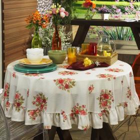 Toalha de Mesa Redonda 160cm - Suzane Vermelho - Dui Design