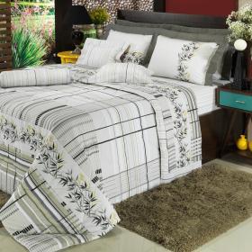 Edredom Queen 150 fios - Takay Cinza - Dui Design