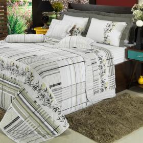 Kit: 1 Cobre-leito Solteiro + 1 Porta-travesseiro 150 fios - Takay Cinza - Dui Design