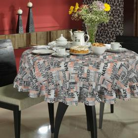 Toalha de Mesa Redonda 160cm - Tea Cinza - Dui Design