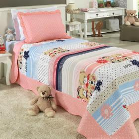 Kit: 1 Cobre-leito Solteiro Kids Bouti de Microfibra PatchWork Ultrasonic + 1 Porta-travesseiro - Teddy Love Rosa - Dui Design