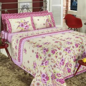 Enxoval Queen com Cobre-leito 7 pe�as Percal 200 fios - Tipsy Pink - Dui Design