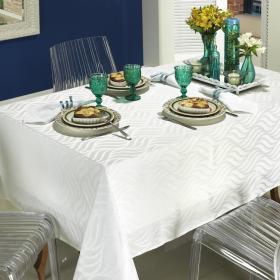 Toalha de Mesa F�cil de Limpar Quadrada 4 Lugares 160x160cm - Tivoli Branco - Dui Design