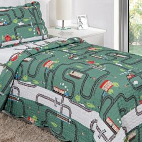 Kit: 1 Cobre-leito Bouti Solteiro Kids + 1 Porta-travesseiro Microfibra - Trenzinho - Kacyumara