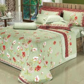 Kit: 1 Cobre-leito Solteiro + 1 Porta-travesseiro Cetim de Algod�o 250 fios - Tropic Vermelho - Dui Design