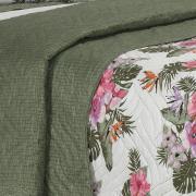 Kit: 1 Cobre-leito Queen Bouti de Microfibra Ultrasonic Estampada + 2 Porta-travesseiros - Tropicana Verde - Dui Design