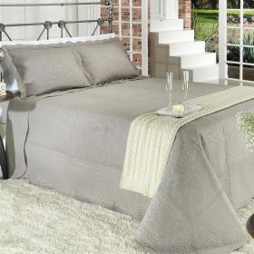 Kit: 1 Cobre-leito Casal Bouti Bordada de Microfibra + 2 Porta-travesseiros - Turin Cimento - Dui Design