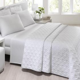 Kit: 1 Cobre-leito Casal + 2 Porta-travesseiros Percal 180 fios - Unique Branco - Santista