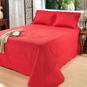 Kit: 1 Cobre-leito Solteiro Bouti Bordada de Microfibra + 1 Porta-travesseiro - Valen�a Vermelho - Dui Design