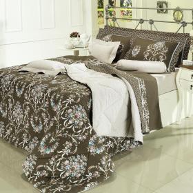 Kit: 1 Cobre-leito Casal + 2 Porta-travesseiros Percal 200 fios - Valentine Marrom - Dui Design