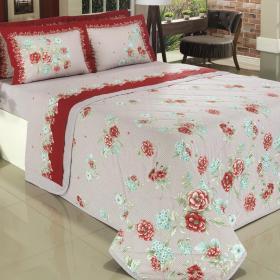 Kit: 1 Cobre-leito Queen + 2 Portas-travesseiro 150 fios - Val�ria Vermelho - Dui Design