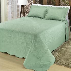Kit: 1 Cobre-leito King Bouti Bordada de Microfibra + 2 Porta-travesseiros - Vanita Verde - Dui Design